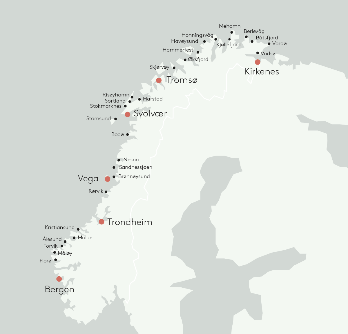 Map - cruise with Hurtigruten along Norway's coast