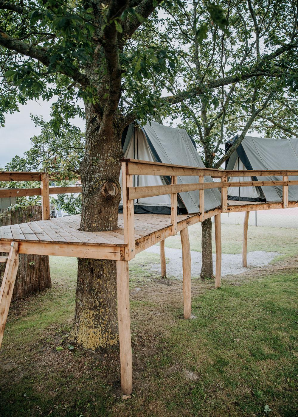 Trætoptelte på Bogense Strand Camping