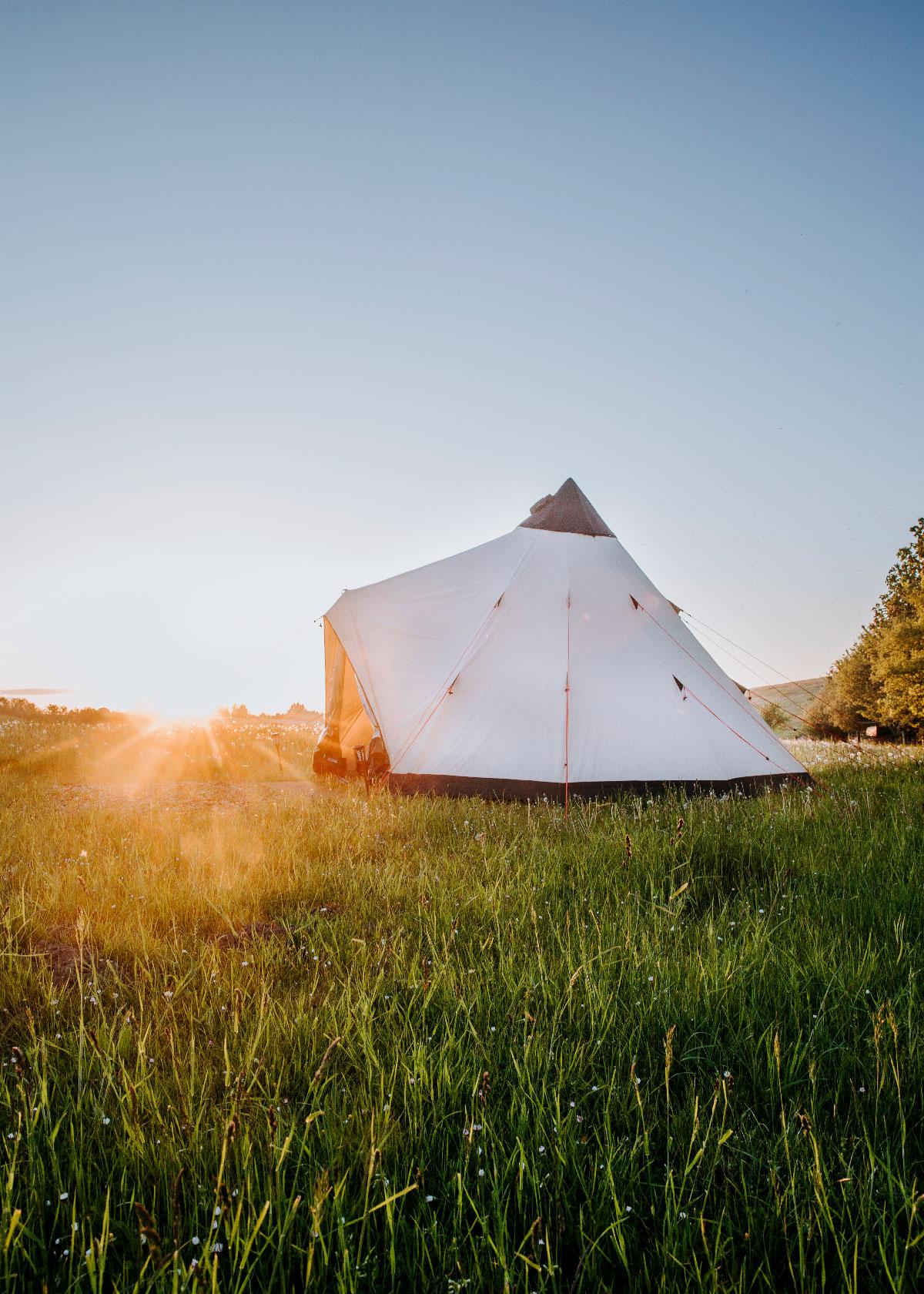 Overnatning i glamping-telt på Skjoldungestien