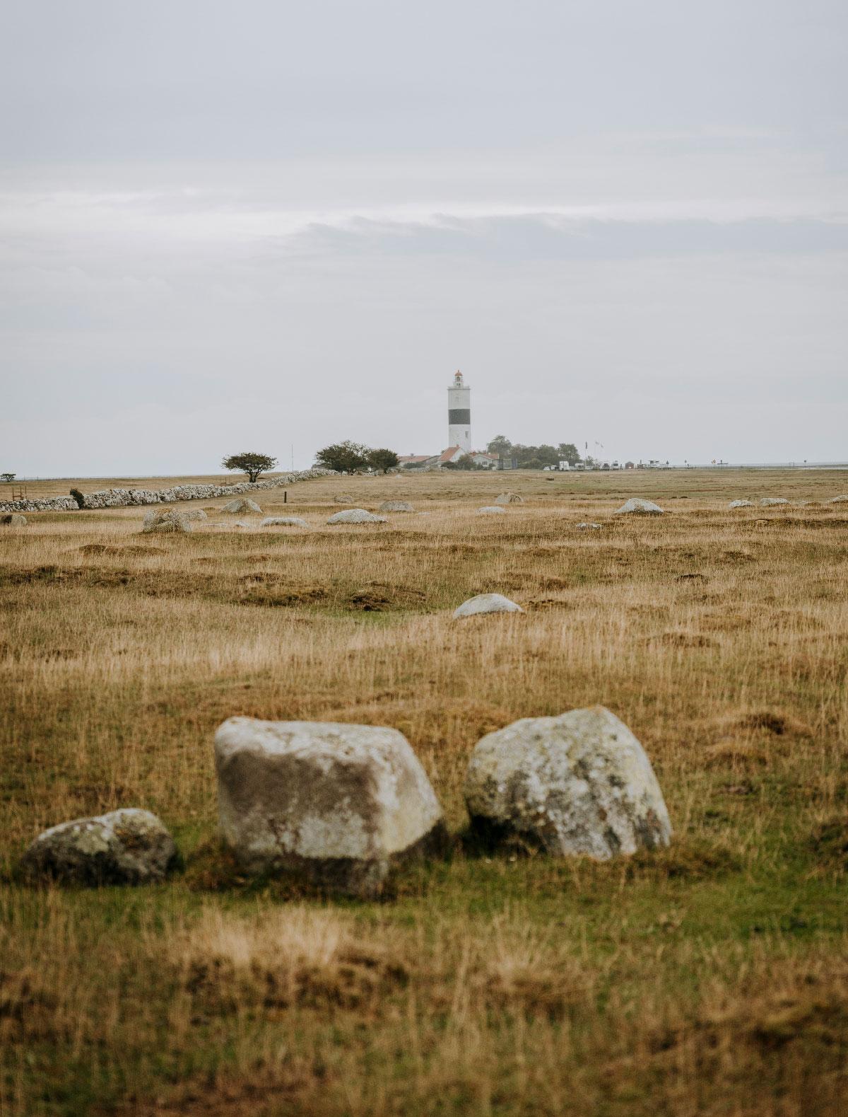 Det slettelignende landskab på Ölands sydspids med fyret Långe Jan i det fjerne